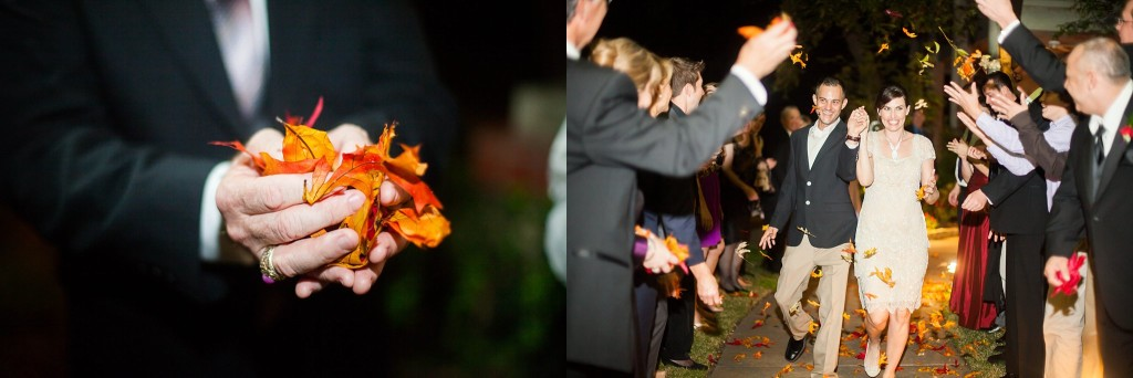 fall leaves wedding send off
