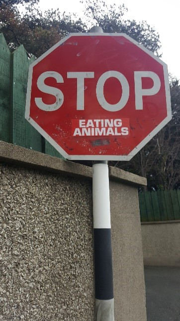 STOP EATING ANIMALS. A road sign in Killiney