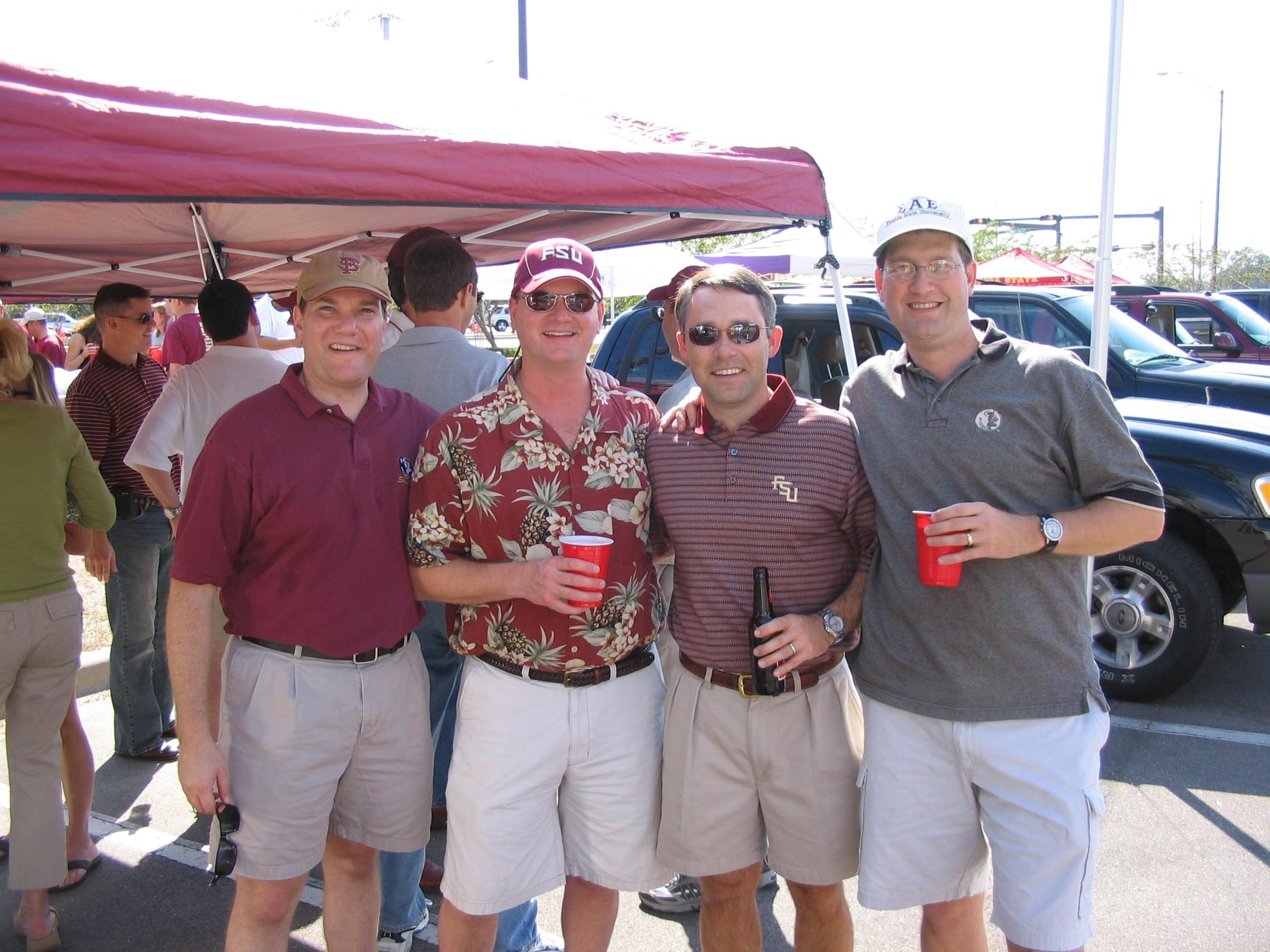 2005 alumni tailgate-DaveWainer, TBD, BartAbstein, BrettBelote.JPG