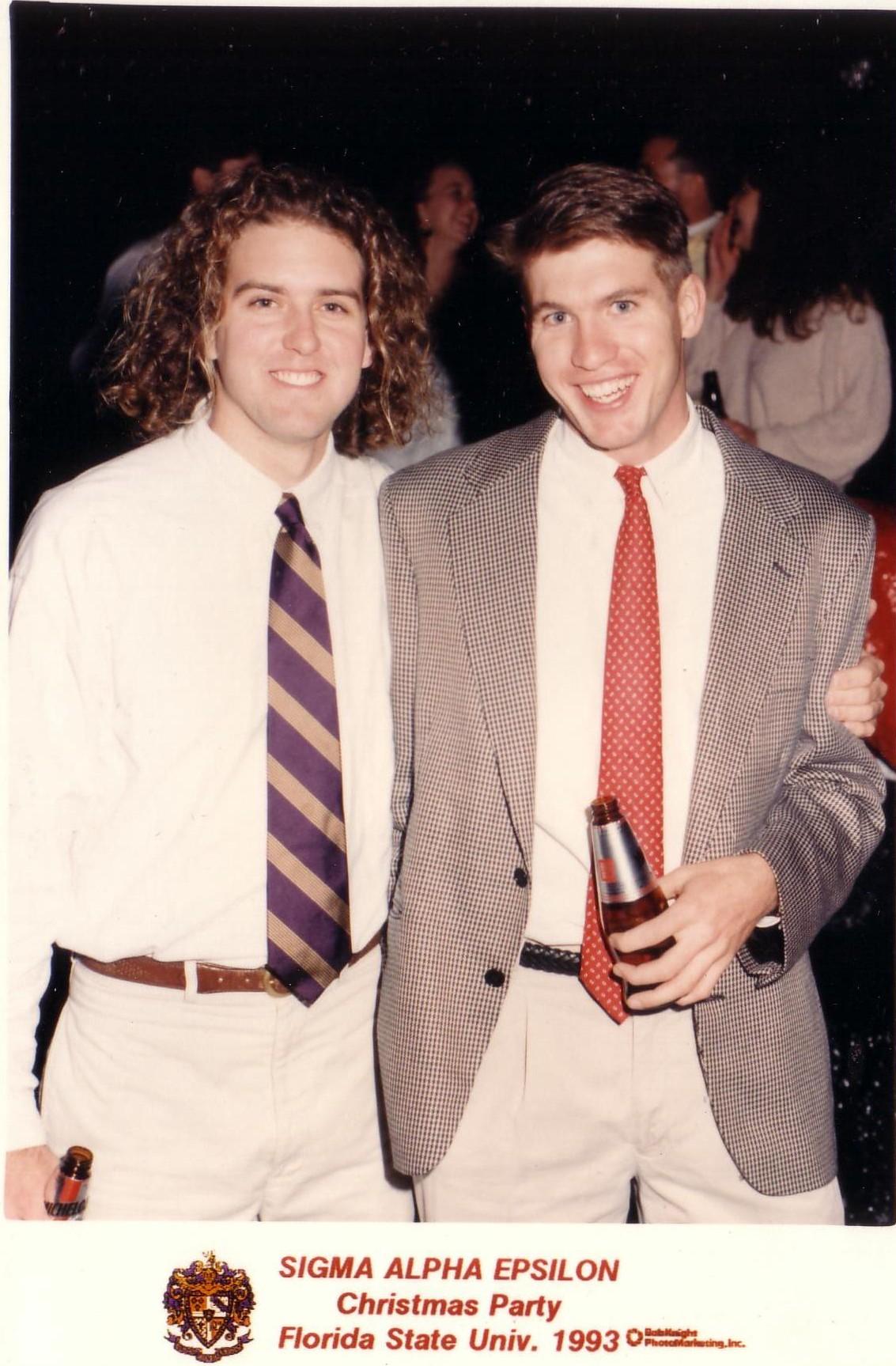 1993 Xmas party PeterFerrah and JasonSessions.jpg