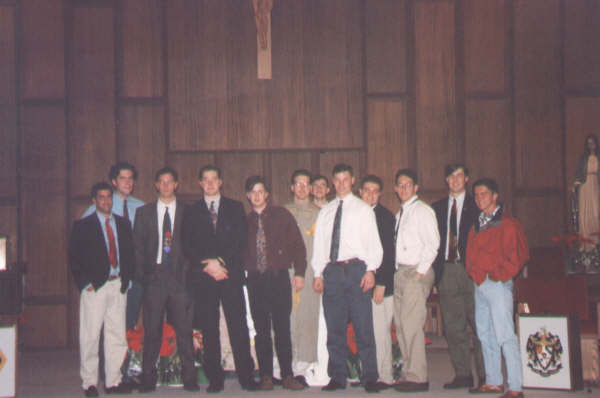 1993 Pledge class initiation at St Thomas More Catholic church.jpg