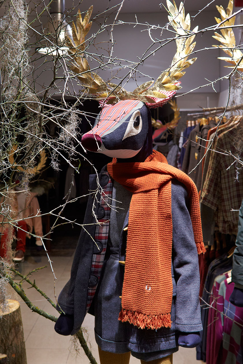 Woodland stag overgrown window display