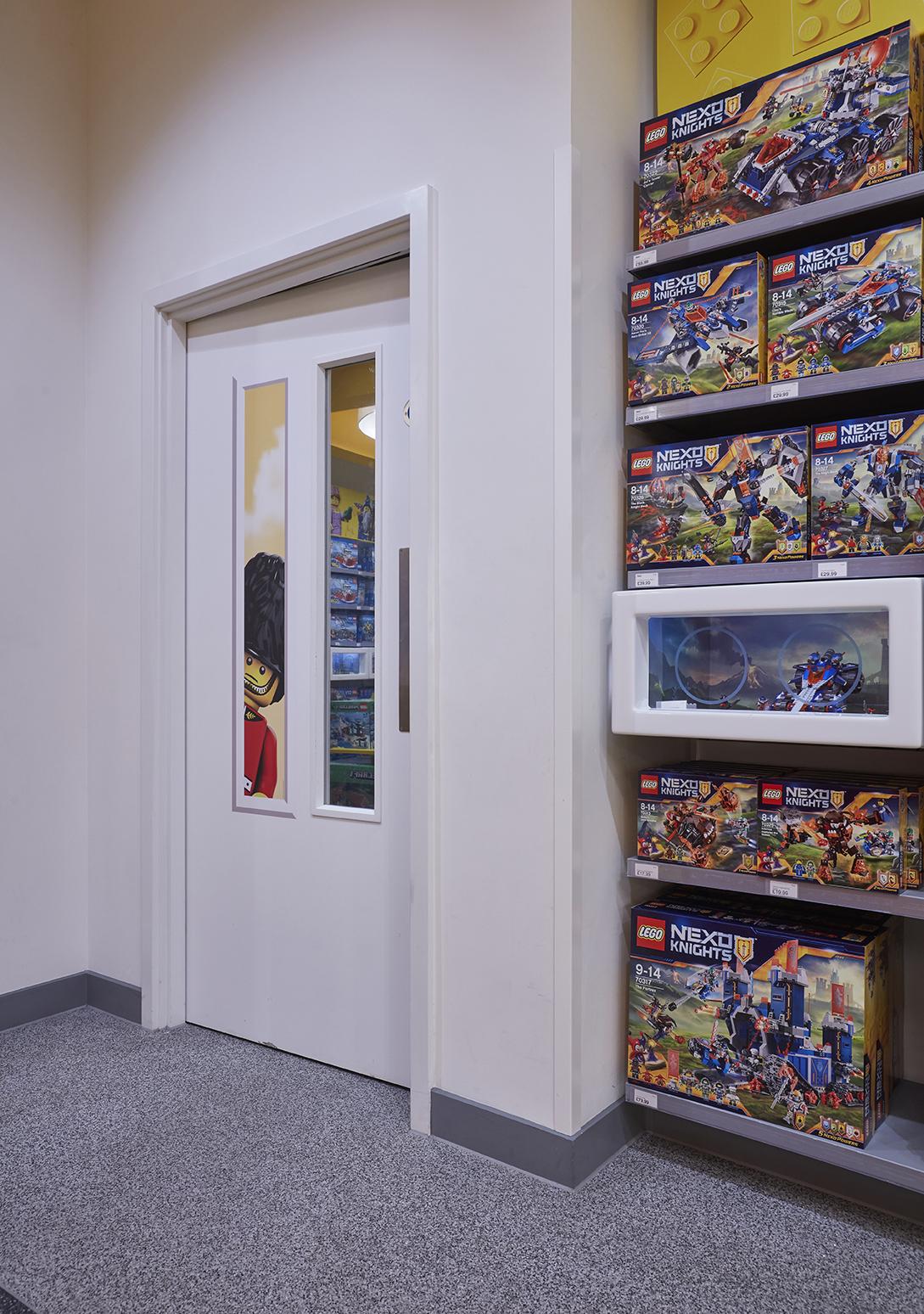 Instore door with LEGO vinyl on the window