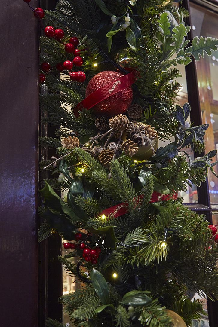 Close up of Penhaligon's Christmas garlands
