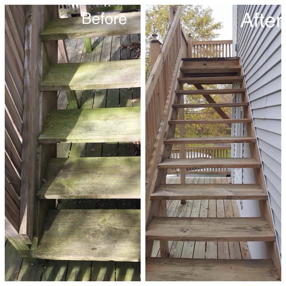 Show in the picture above is an example of wood restoration. This beautiful deck is located in Cassville, NY.