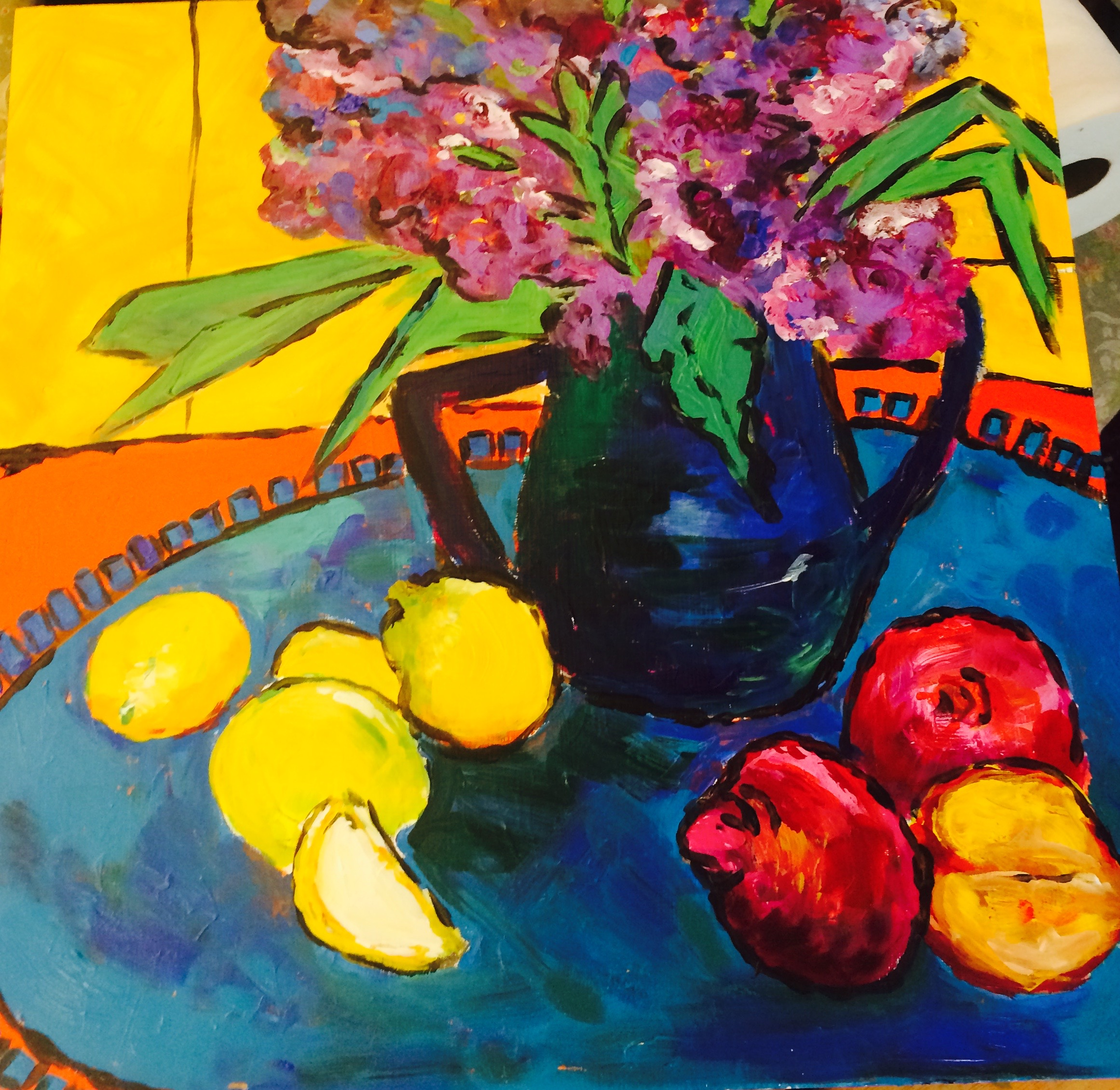 "Lemons with Flowers Acrylic 18x24"" on cradled board SOLD.JPG"