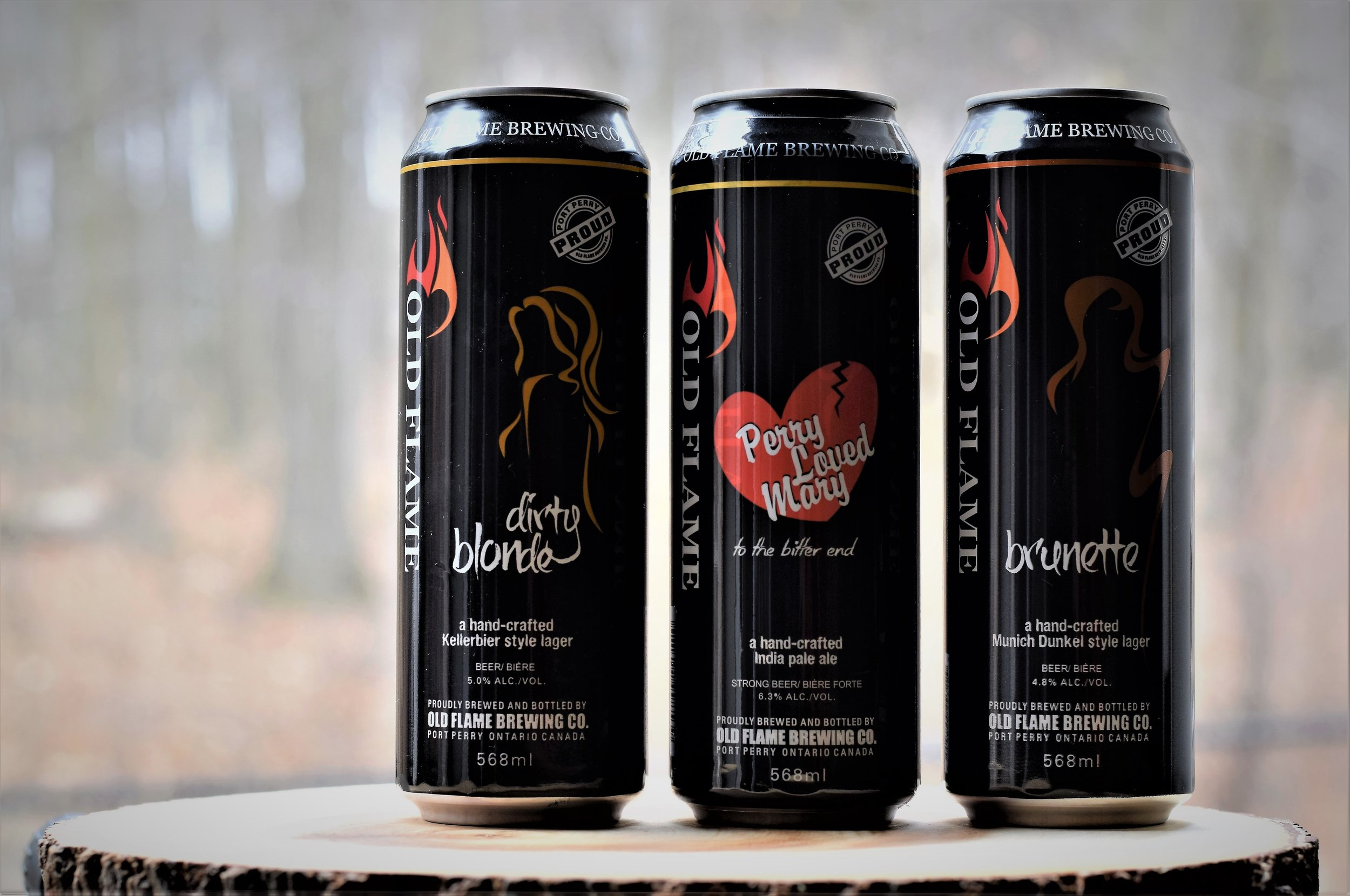 """All cans in the photo are 568ml. From left to right, """"Dirty Blonde"""", """"Perry Loved Mary"""", """"Brunette."""""""