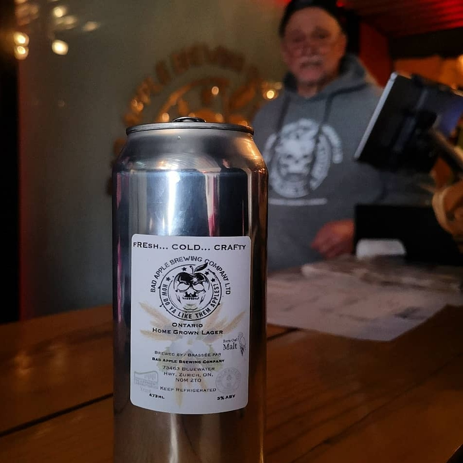 Ontario Home Grown Lager - This lager features malt from Barn Owl (Belleville), yeast from Escarpment Labs (Guelph), and hops from Backroads (London)