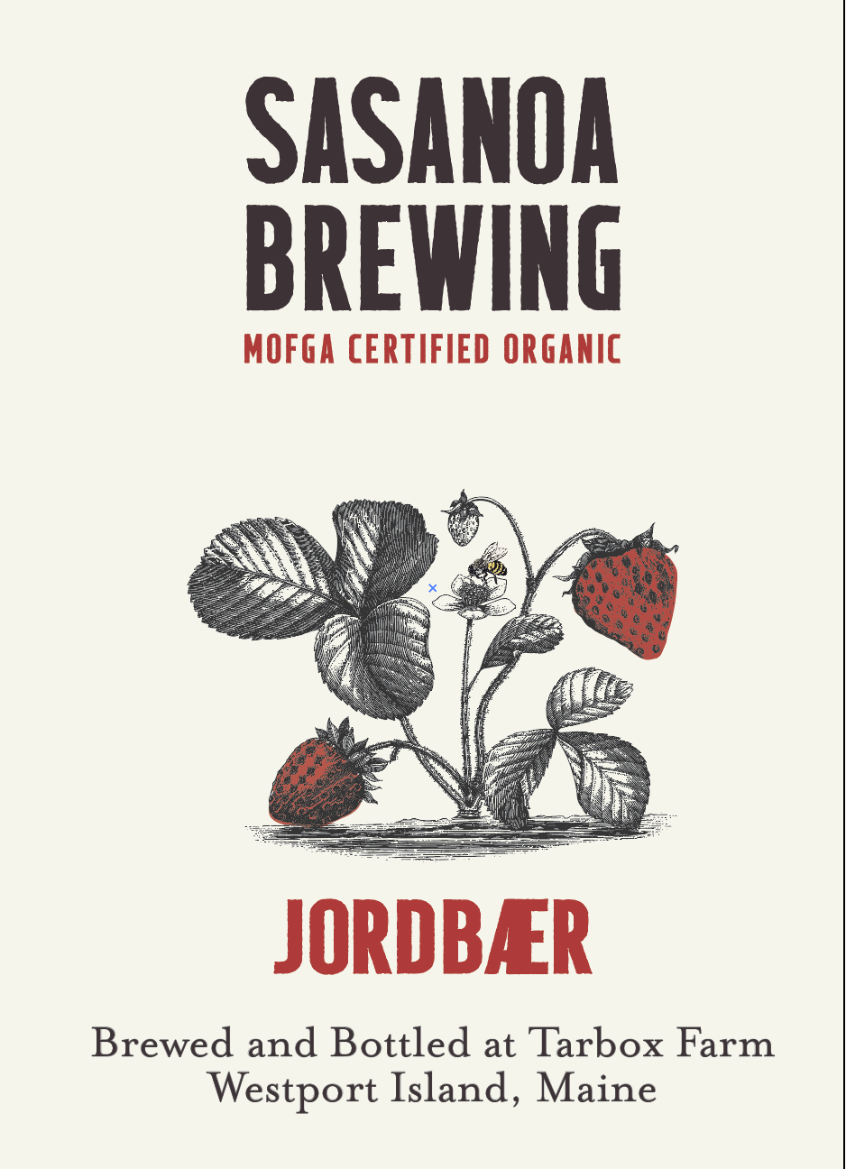 Jordbaer - Jordbaer is a refreshing, tart, strawberry saison brewed with 72 lbs of organic strawberries per barrel and a touch of lime basil for some citrus notes. The organic strawberries and lime basil were grown at our farm. The remaining ingredients were sll grown on other organic farms in Maine.Made with all Maine ingredients: Organic Strawberries, Organic Barley, Organic Wheat, Organic Hops, Organic Lime BasilBottle conditioned with organic maple syrup. 750 ml, 1 pint 9.4 fl oz5.5% ABV