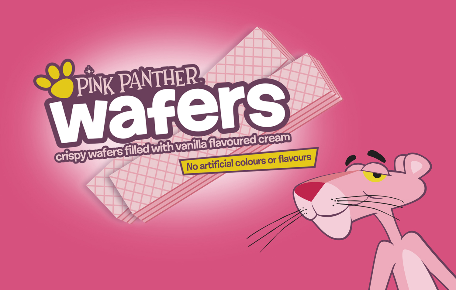PINK PANTHER WAFERS - We couldn't resist the opportunity to re-launch this childhood favourite. In 2017 this famous brand found a new owner.VIViD managed the re-launch including a new Wordpress site, press launch and trade advertising campaign.