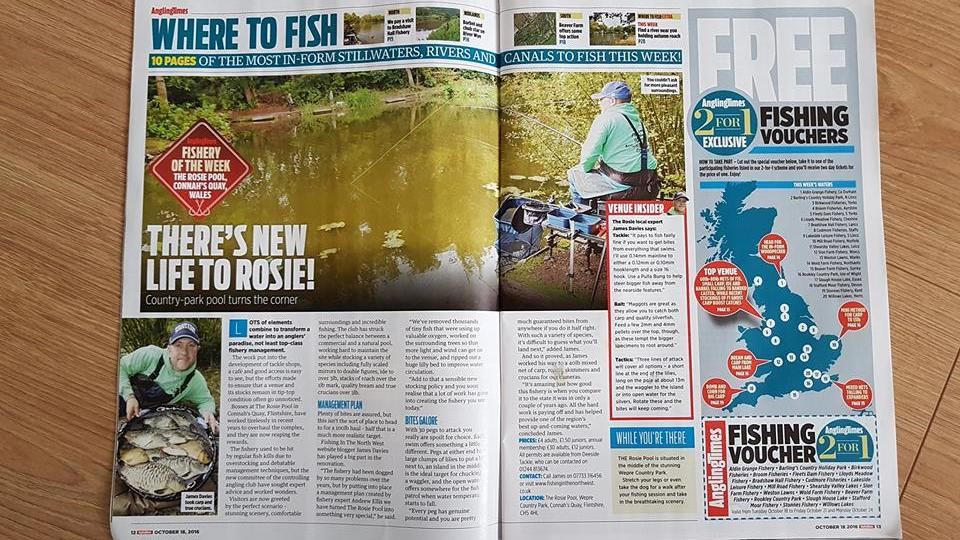 THE ROSIE APPEARED AS 'FISHERY OF THE WEEK' IN THE ANGLING TIMES, NOVEMBER 2016.