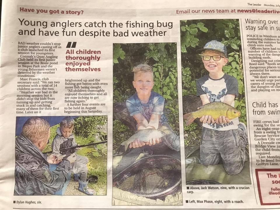 COVERAGE OF ONE OF THE CLUBS 'START EARLY, FISH FOR LIFE' EVENTS IN THE LOCAL PAPER.