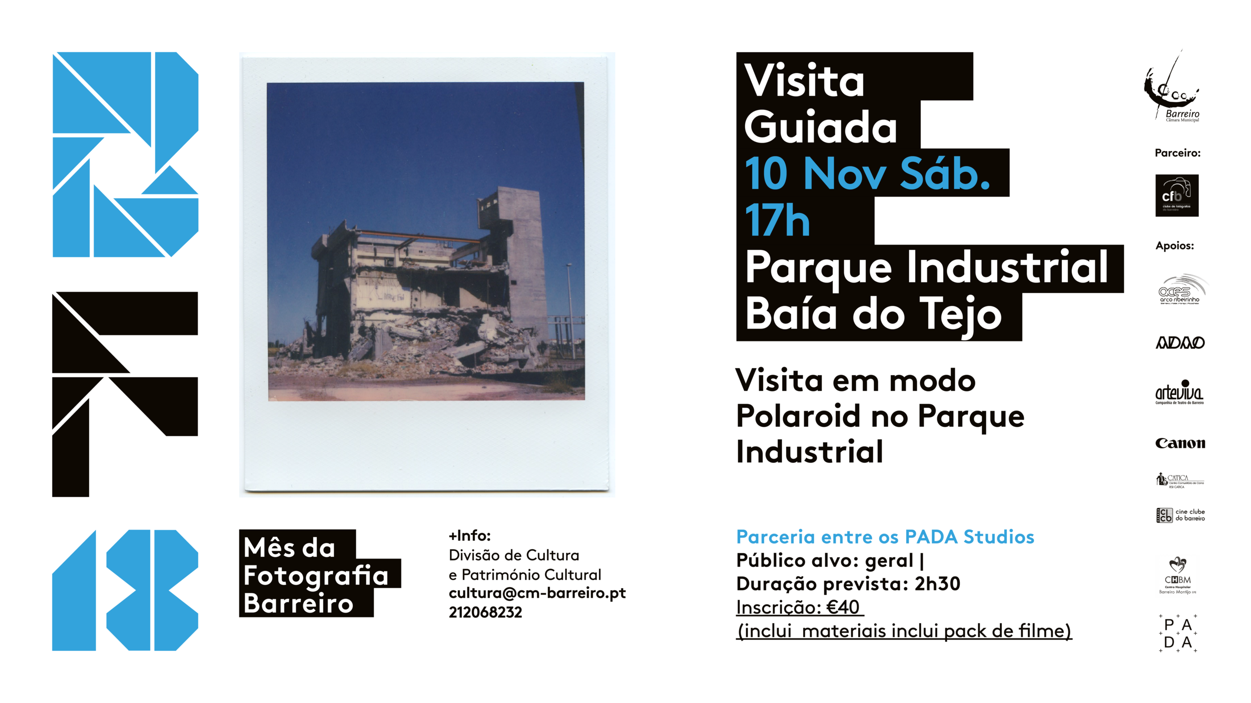 NOVEMBER 10th *Limited Places* Time TBC  A one-off special Polaroid tour of the historic industrial park of Barreiro (Parque Industrial Baía do Tejo) with exclusive access to areas not usually open to the public.  Join us at PADA Studios for a short introduction to the history of Polaroid photography from its inception to the present day. This will be followed by a technical introduction to vintage polaroid cameras and a tour of the industrial park where participants will each have their own polaroid camera and a fresh pack of colour film (8 pictures).  The tour is run as part of Mês da Fotografia Barreiro in conjunction with  PADA Studios  who have recently opened studios and a gallery in the Baía do Tejo Industrial Park.  The Industrial park itself dates back over 100 years when it's founder Alfredo da Silva decided to expand the company CUF from Alcântara in Lisbon over to the city of Barreiro. It comprises now of many factories and buildings in disrepair, many of which ceased to do business in the 1980s but is also home to new businesses and is in the process of an exciting redevelopment which  PADA Studios  is now part of. The complexion of the park changes daily as it continues to develop so this is a great chance to see it as it is now before more buildings are demolished and/or renovated.   Tickets can be booked at  analogtours.com  using PayPal.  If you'd like to pay in cash then feel free to visit us at  PADA Studios  , email info@analogtours.com and it can be arranged.
