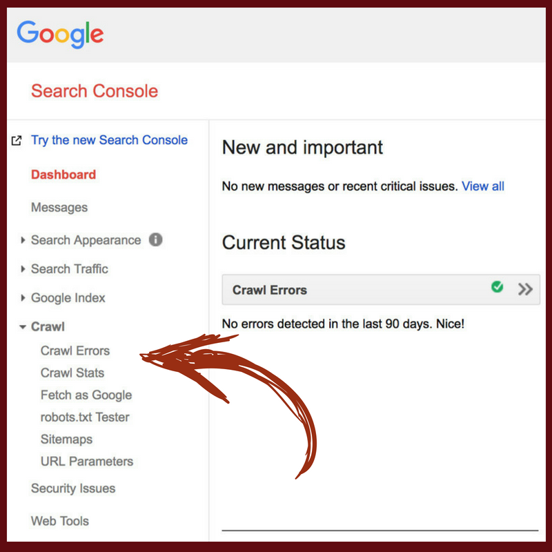 finding 404 errors using google search console
