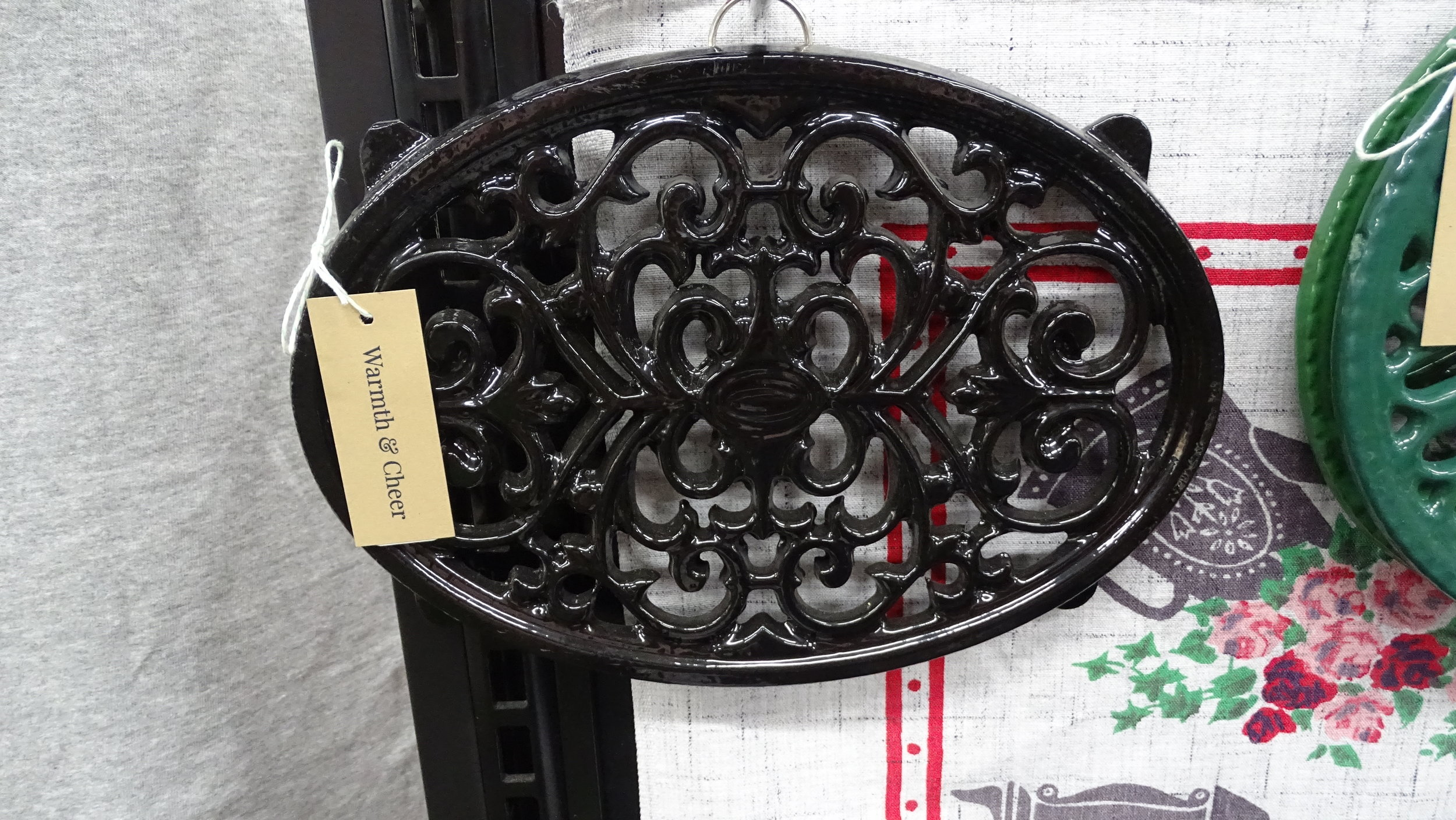 Black Enamel Cast Iron Trivet Oval Warmth Cheer Vintage Home Goods