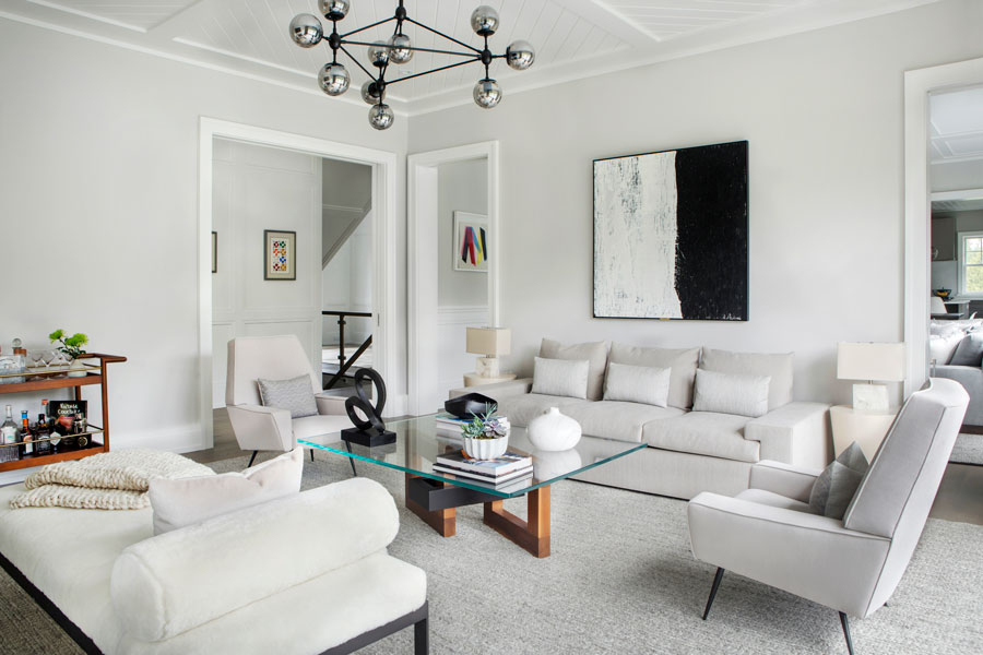 White and Black II in Water Mill, NY. Vanessa Rome Interiors.
