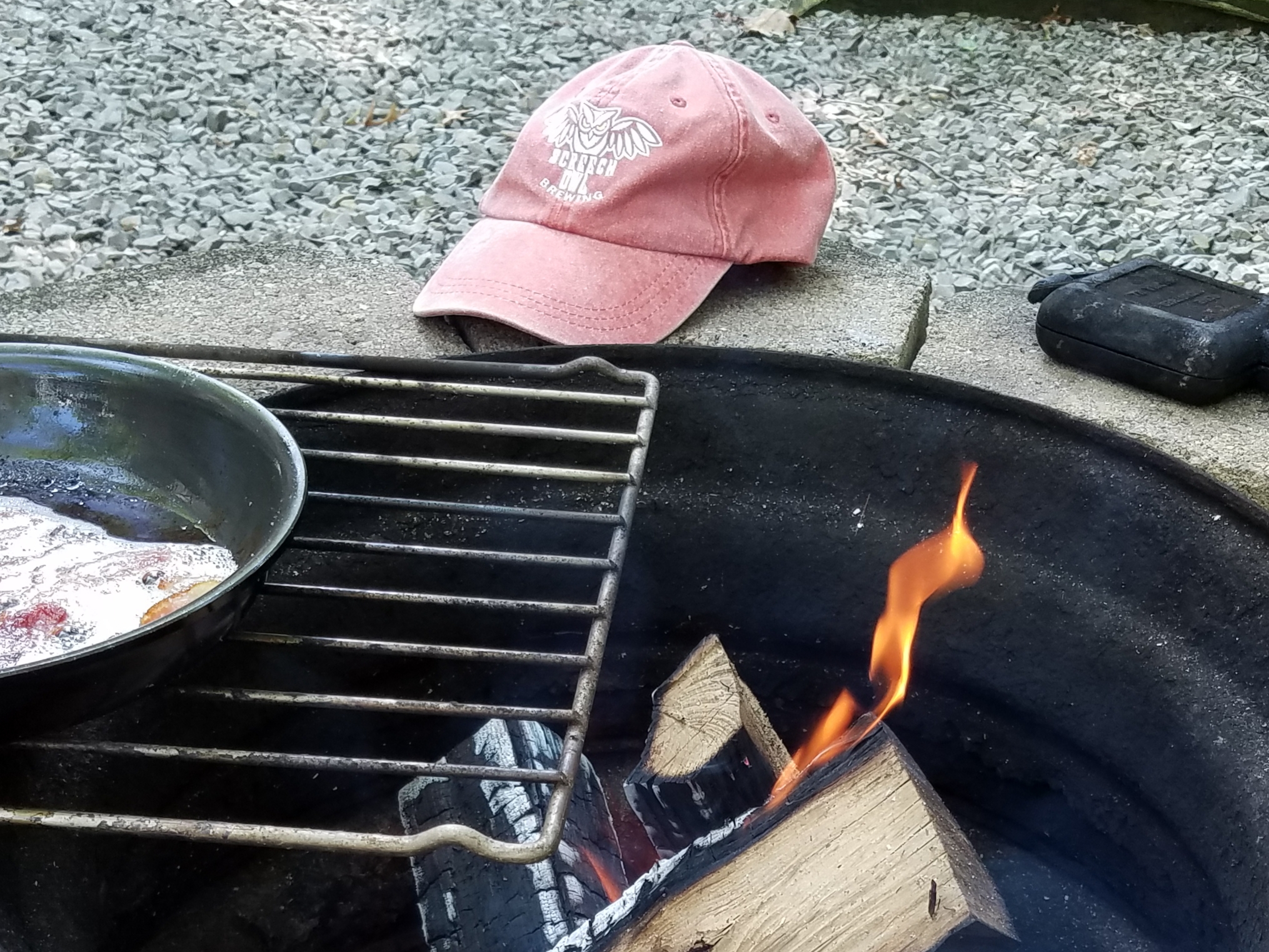 Mountain camping and bacon. Soon to be egg and bacon mountain pie. Farmington, PA. Benner's Meadow Camping and Cabins