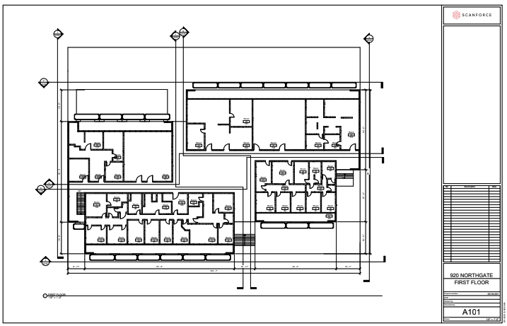 Floor Plans - Floor plans show a view from above of the relationships between rooms, walls hallways, seating arrangement and significant MEP systems. Dimensions are drawn between the walls to specify room sizes. Floor plans may also include details of fixtures like sinks, water heaters, furnaces, depending on your specific needs. Floor plans may also include notes specifying finishes.Elevations are also available upon request - an elevation is a measured plane projected from the side of a building, along with its height.File type:Revit, Sketchup, AutoCAD,or PDF