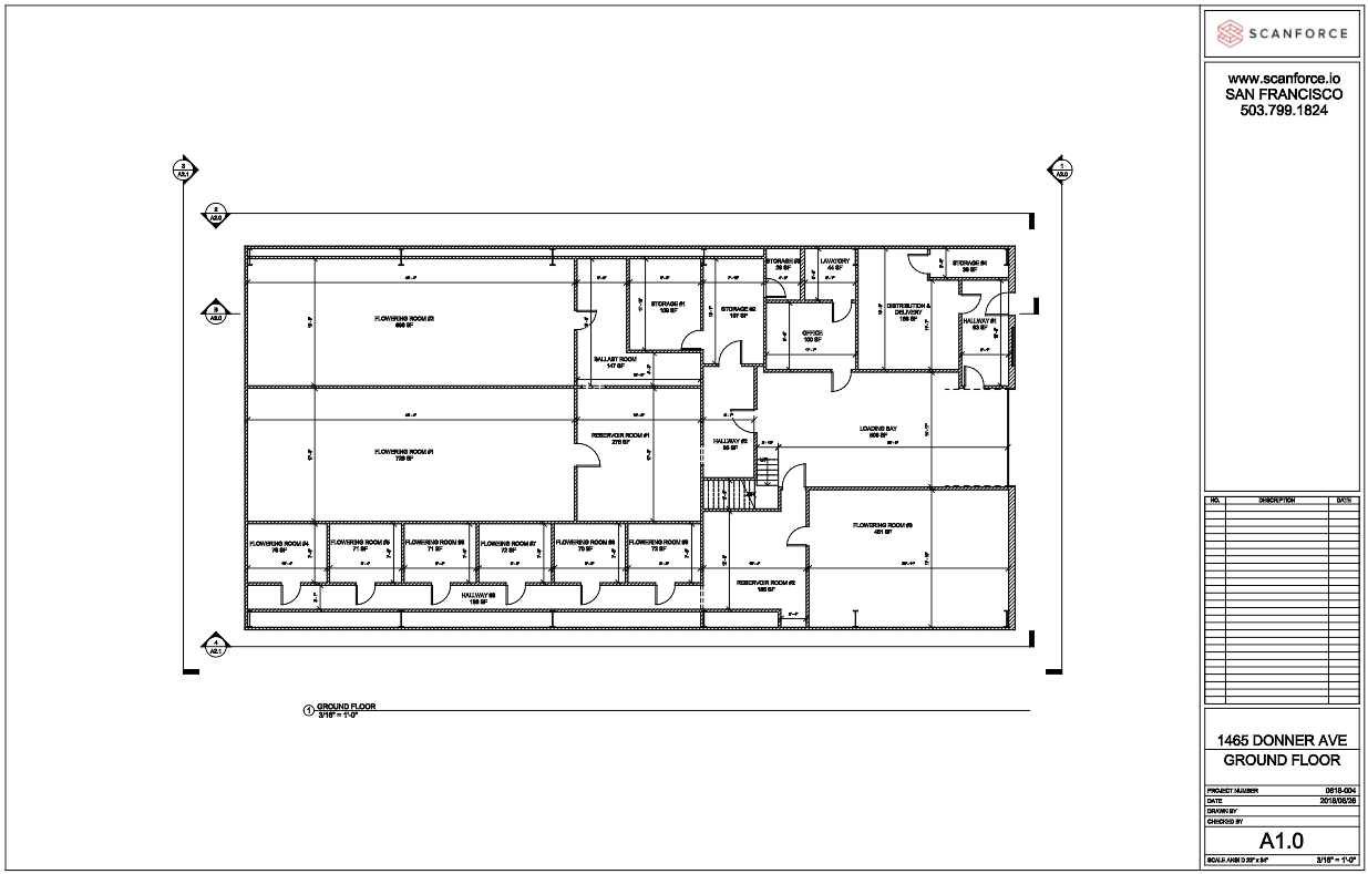 Manufacturing Facility Upgrades - Location:  San FranciscoBuilding type:  Office / WarehouseBuilding size:  20,000 sfClient request:Client with rapidly expanding business needed fast as-built plans to bring facility up to code, and plan further renovations.  Scanforce scanned and photographed the entire 20,000 sf facility in 1 day, and delivered architectural plans and BIM model within 10 days.  Deliverables:3D BIM model (Revit 2018)360° Photo WalkthroughProject duration:Architectural plans, 360° photos and 3D BIM model delivered 10 days after completion of on-site scanning.