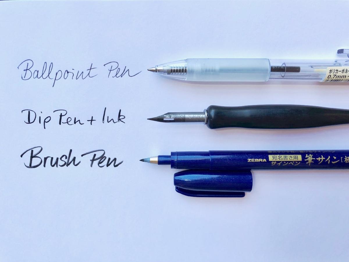 0.7mm ballpoint pen by Muji Sprott 222 nib & Speedball penholder Zebra brush pen by Zebra