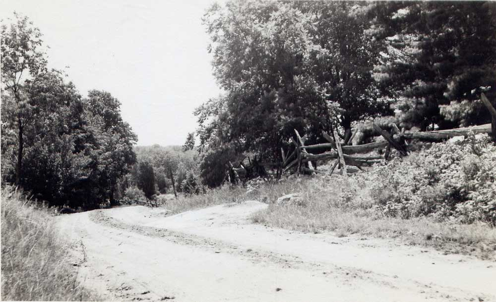The Road from Westport to Bolingbroke about 1950. The Cobblestone property was a remote, out-of-the-way place.