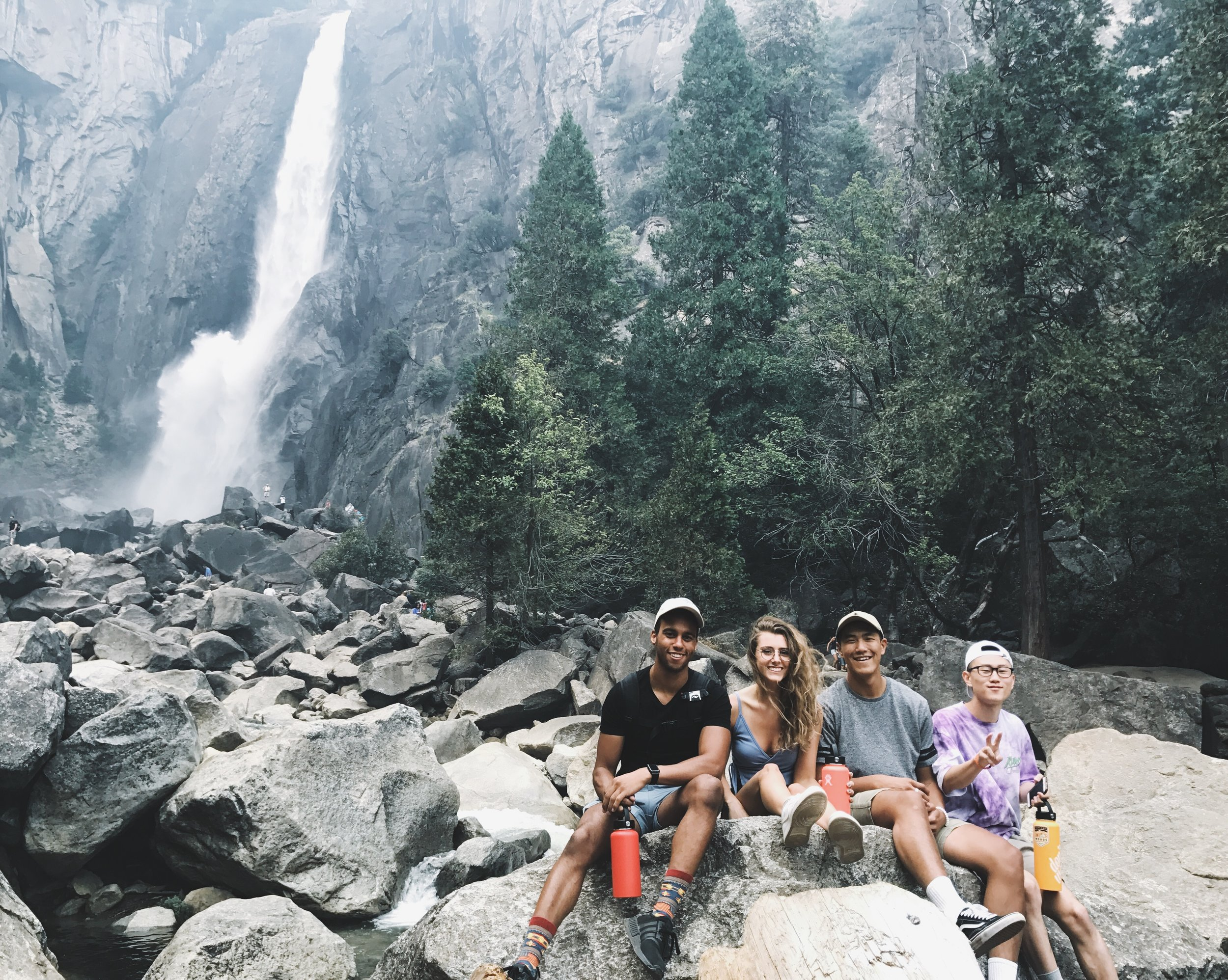 (from left to right)  Bryce Daniel , myself,  Zechariah Lee , and  Bill Kim  at Lower Yosemite Fall