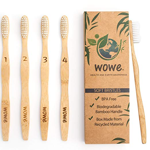 Bamboo Toothbrushes   an eco-friendly alternative to plastic toothbrushes. Comes in a pack of four, has BPA-free bristles and a biodegradable bamboo handle. Growing over three feet per day, bamboo is a sustainable material that is naturally repels water and is antimicrobial.