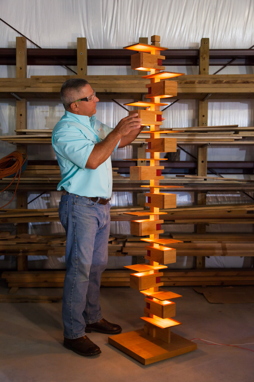 A mathematical challenge, this illuminated sculpture is an eye catching conversation piece.