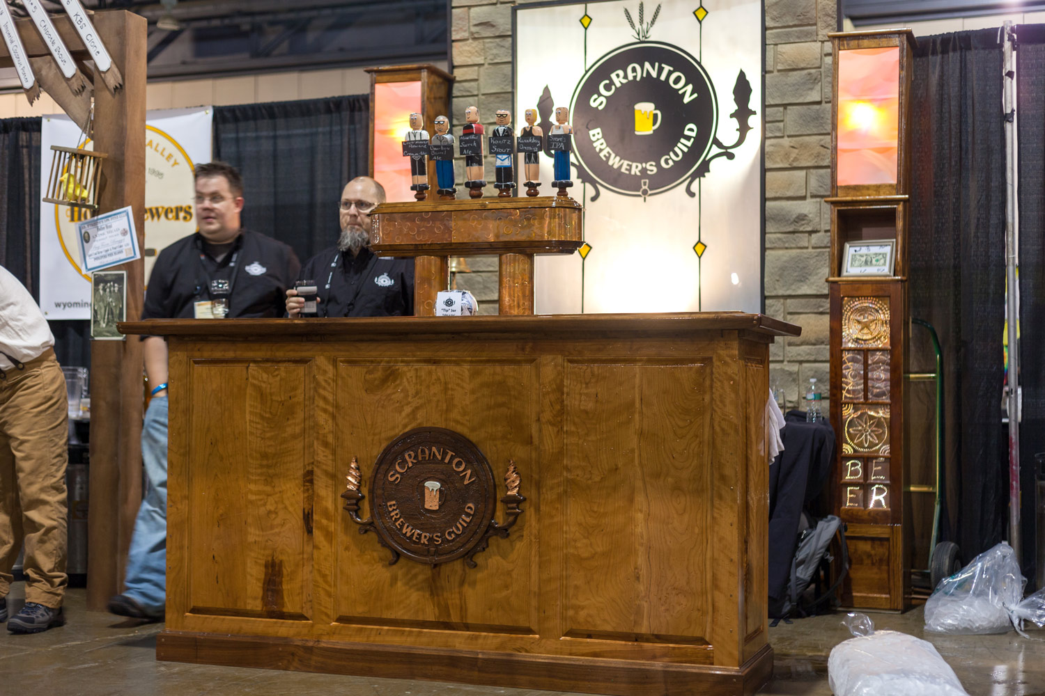 This collapsable bar is design to be set up and ready to pour a beer in 10 minutes. Its cherry and patenated copper design evokes the memory of the prohibition days of the 1930's.