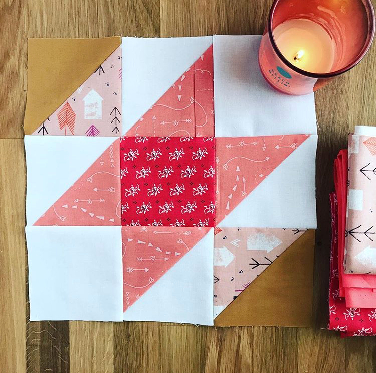 Old Mohawk Quilt Pattern Half Square Triangle Beginner Pattern Contrary Wife Quilt Block with candle