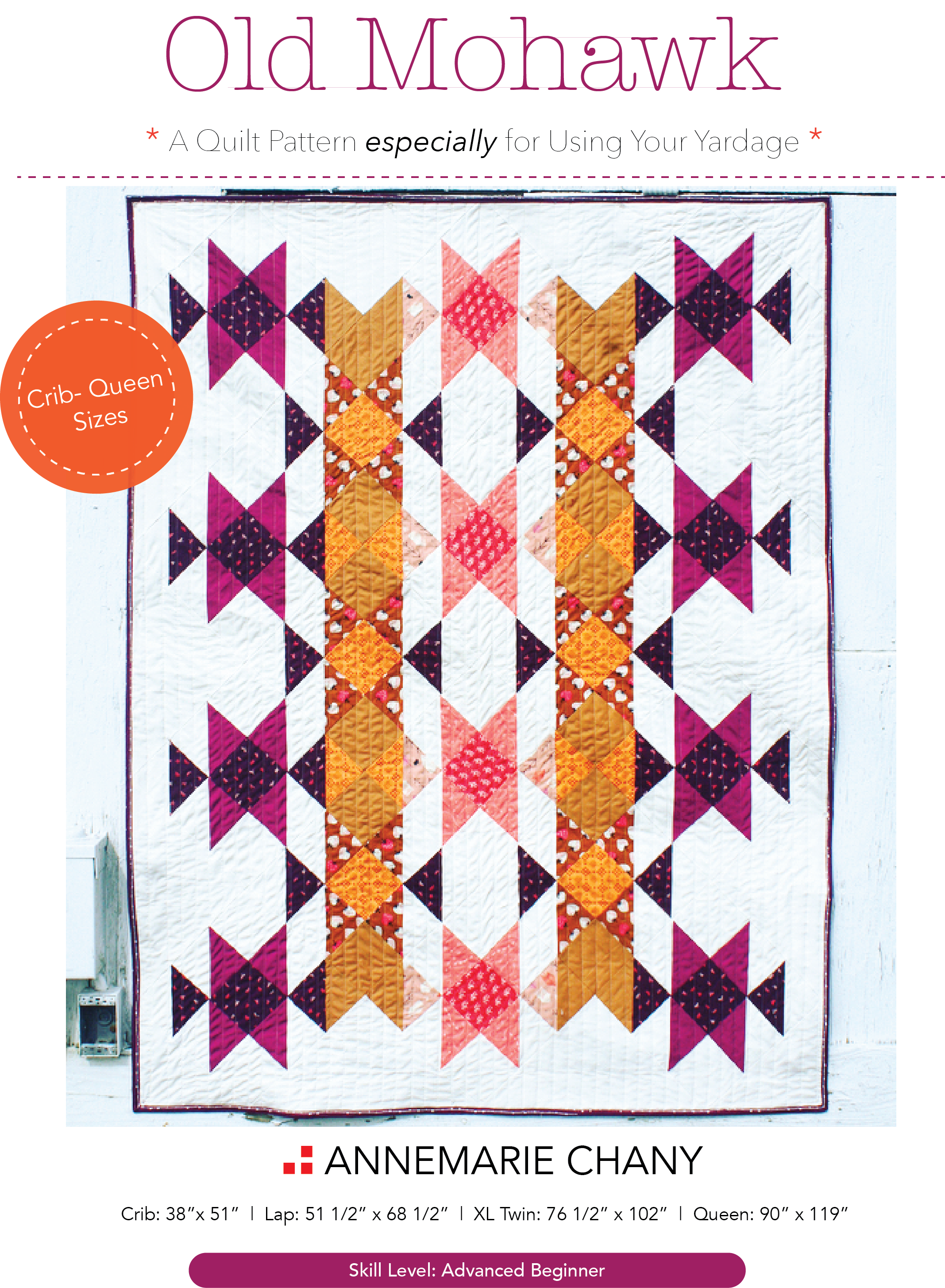 Old Mohawk Quilt Pattern Half Square Triangle Beginner Pattern - Make 8 HSTs at a Time