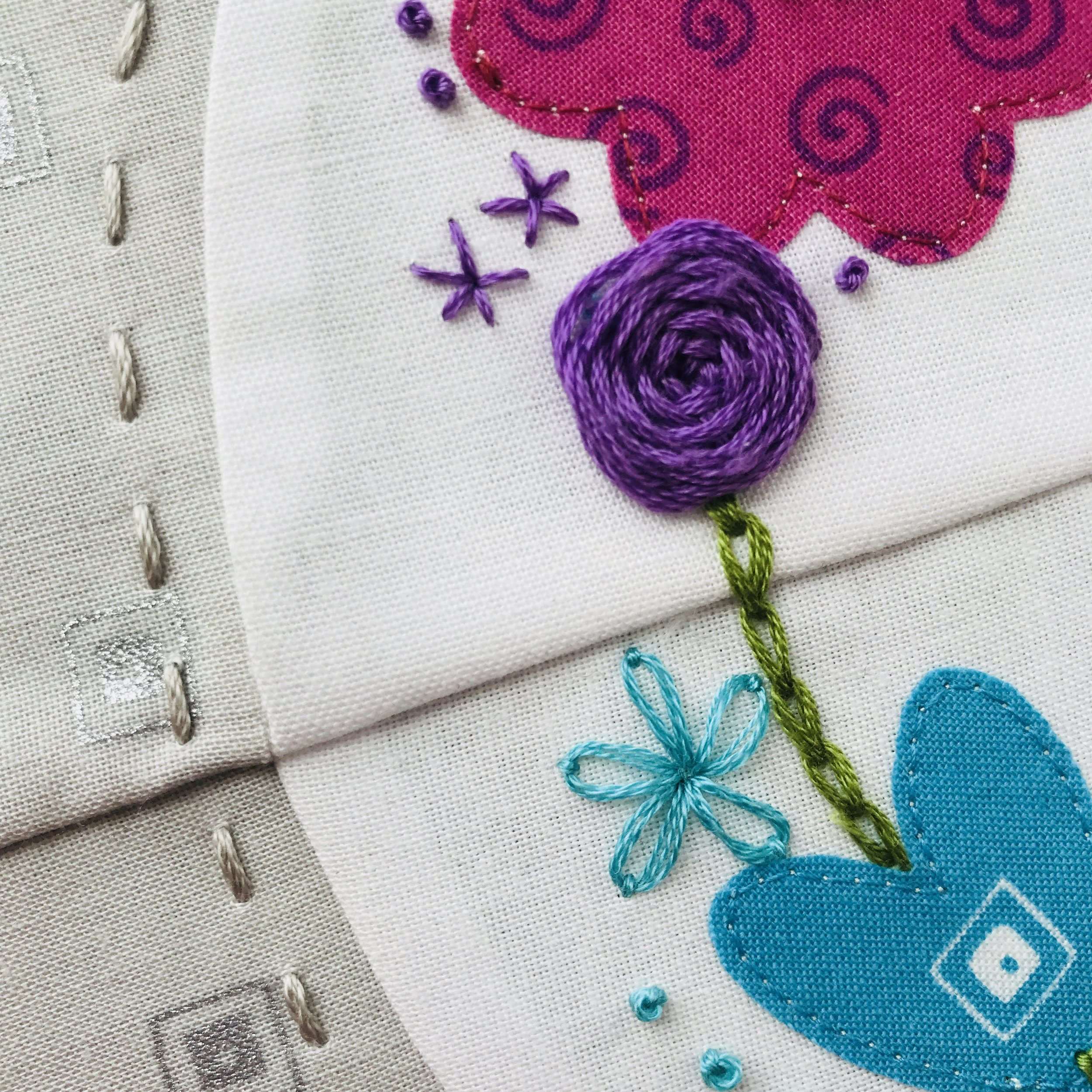 Rainbow Halo Hoop Quilt embroidery Detail Purple