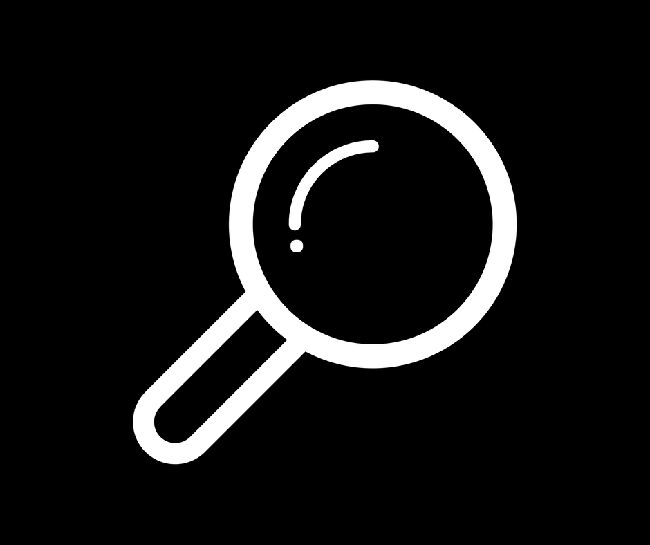 White magnifying glass icon