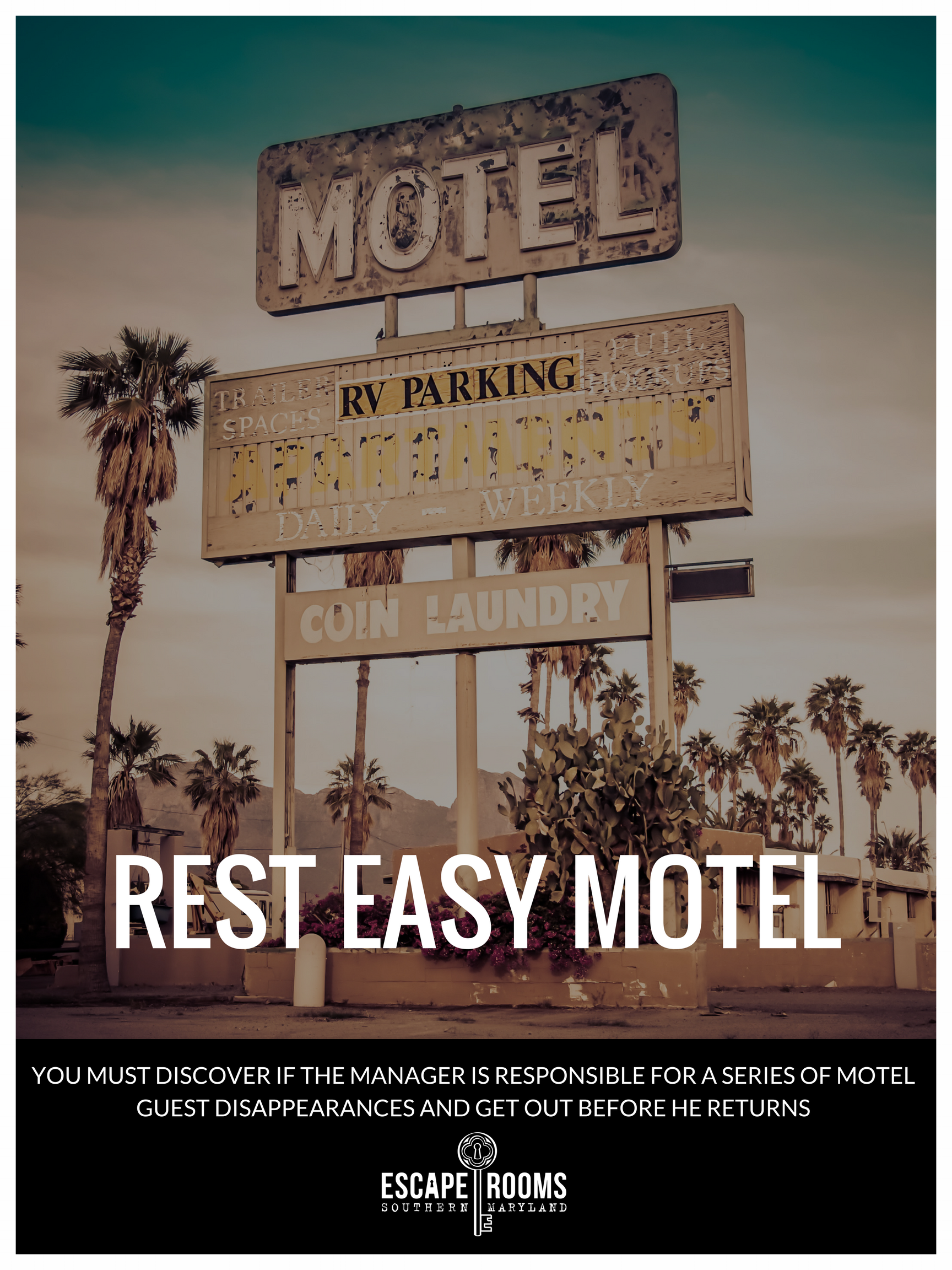 Rest Easy Motel movie poster featuring rusty old motel sign over run down motel.