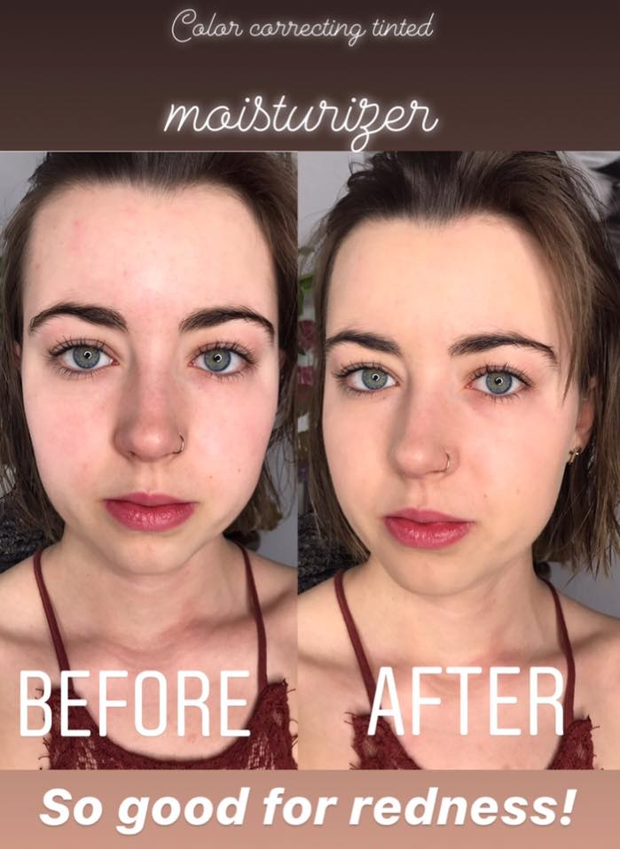 Color Correcting Tinted Moisturizer Senegence Before and After