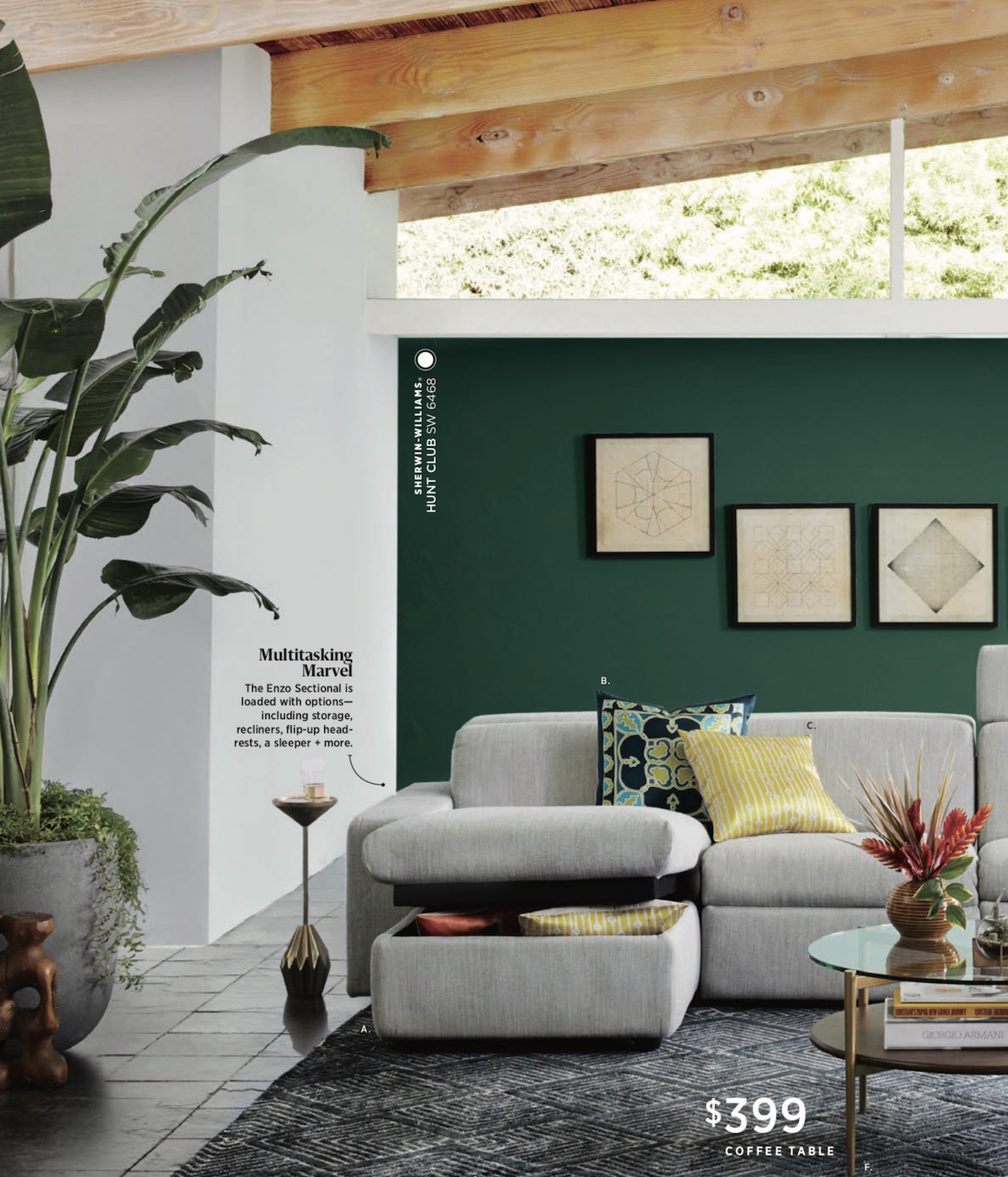 A    Bird of Paradise    that pulls together the room's color story. Photo:    West Elm   .