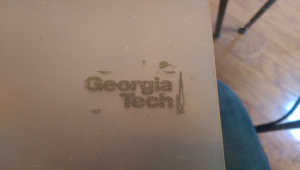 Frosted glass had a high retention of embossing powder, and a nice, even coverage.