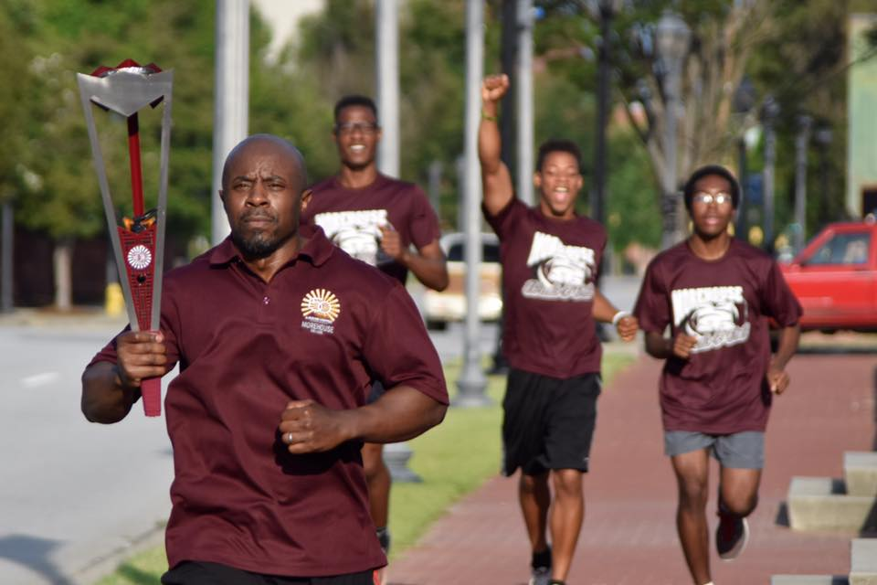 Morehouse College Relay Torch - A creative partnership between the Georgia Institute of Technology and Morehouse College to honor and celebrate 150 years of excellence.