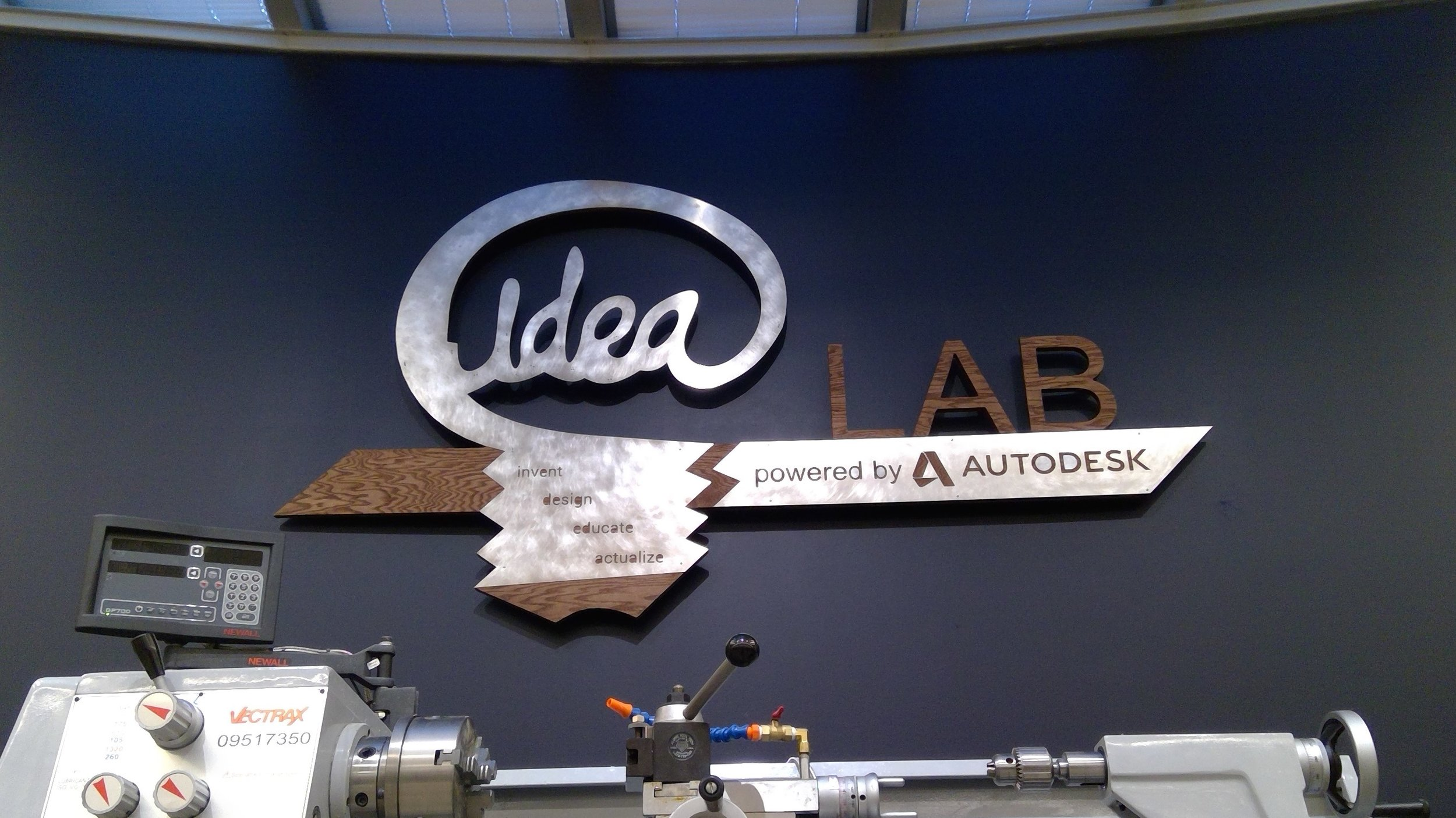 IDEA Lab Sign - Autodesk and Georgia Tech collaborated to renovate a beautiful new hands-on lab space to foster the Mechanical Engineering program's Creative Decisions and Design curriculum. This sign was commissioned to capture the new aesthetic and spirit of the space for the grand opening on March 28th, 2018.