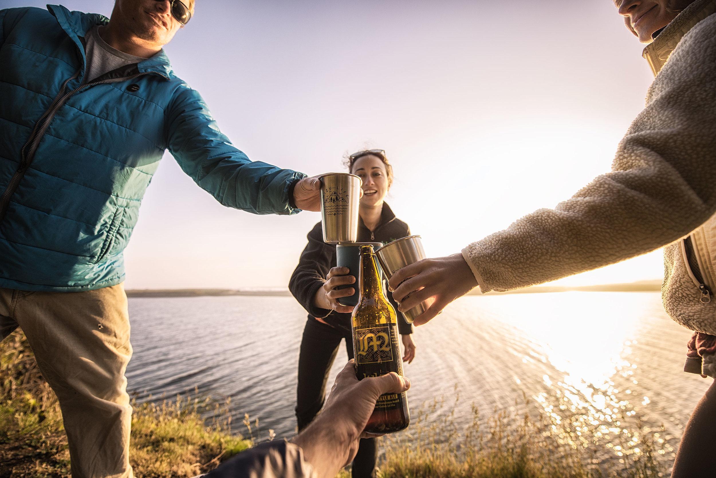 austin-trigg-redwood-water-bottle-Mizu-beach-beer-cheers-drinking-ocean-california-sunset-camping.jpg