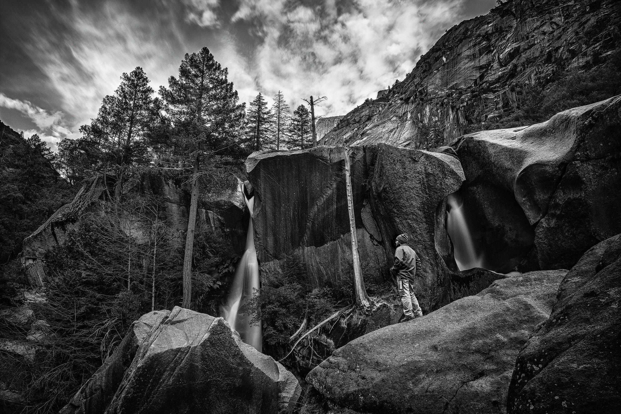 austin-trigg-yosemite-national-park-black-white-waterfall-Hidden-Falls-long-Exposure-hiking-adventure.jpg