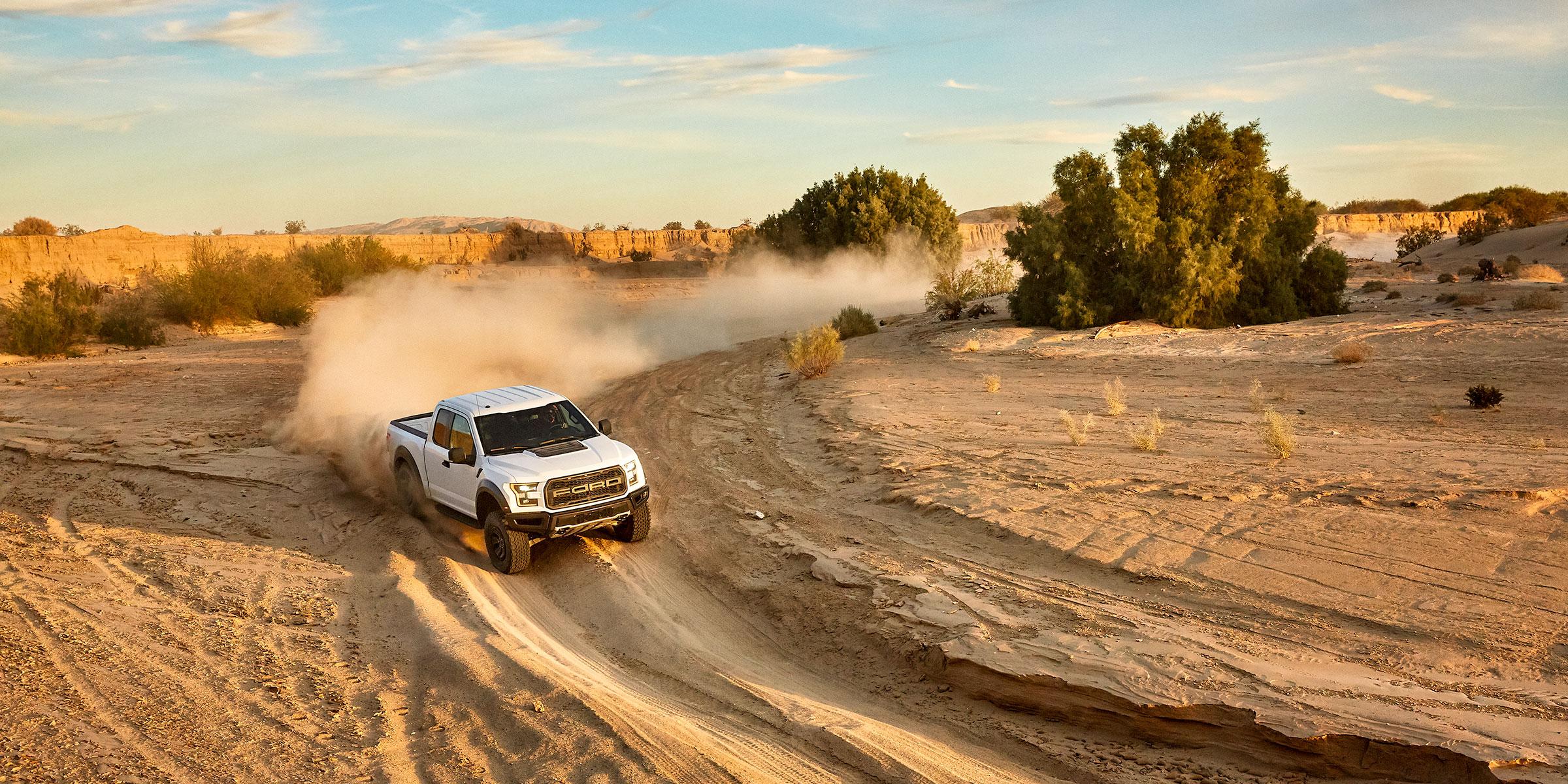austin-trigg-southern-california-White-raptor-ford-truck-desert-sunset-anza-borrego-dust-driving.jpg