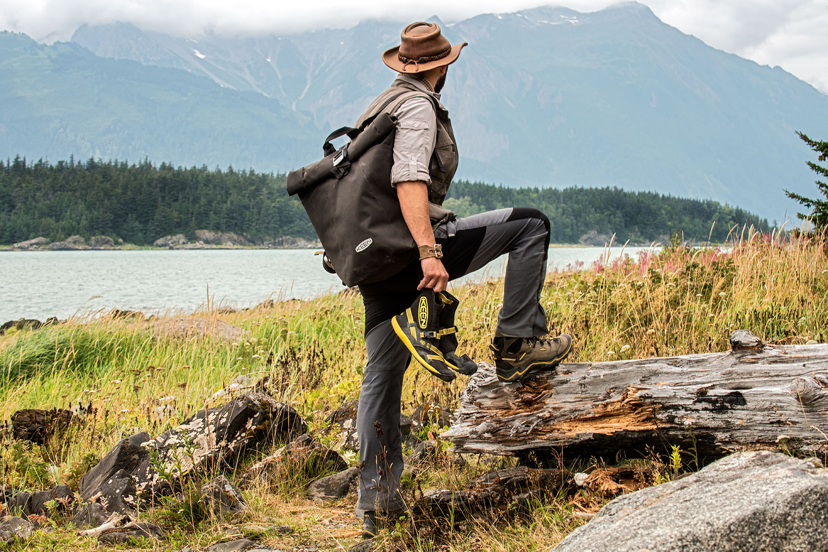 austin-trigg-brave-wilderness-alaska-BW-Coyote-Keen-Product-water-shoes-bag-Chilkat-Park.jpg