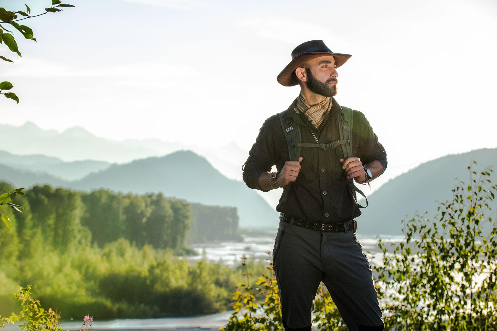 austin-trigg-brave-wilderness-alaska-BW-Coyote-Sunset-Above-River-pose.jpg