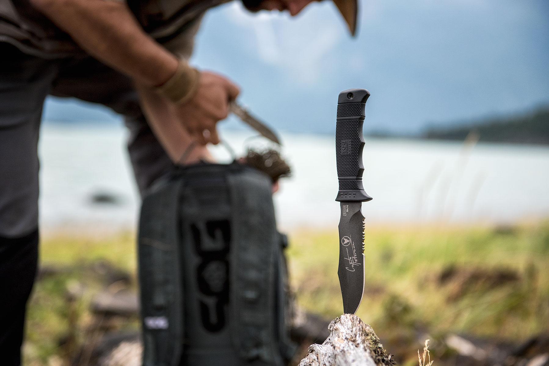 austin-trigg-brave-wilderness-alaska-BW-Sog-knife-products-log.jpg