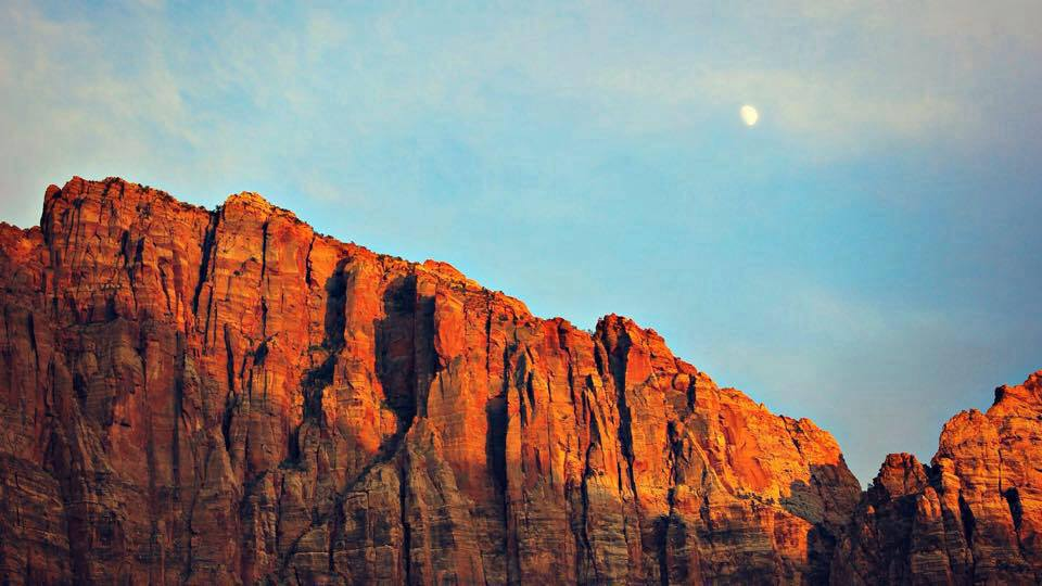 Moonrise over Zion Park & Springdale