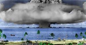 Photo of nuclear testing on Marshall Islands Bikini Atoll
