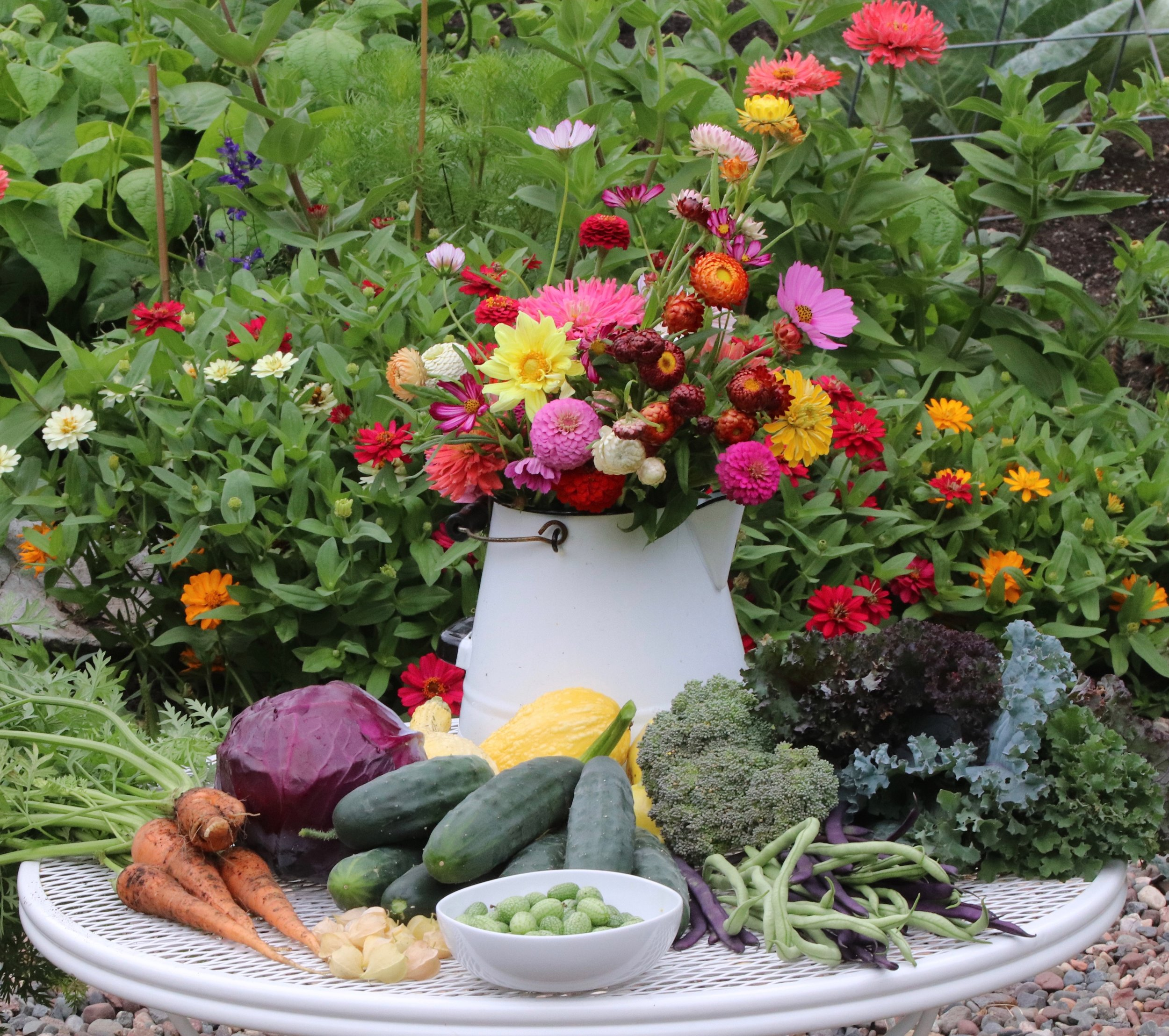 Flowers and veggies go hand in hand.