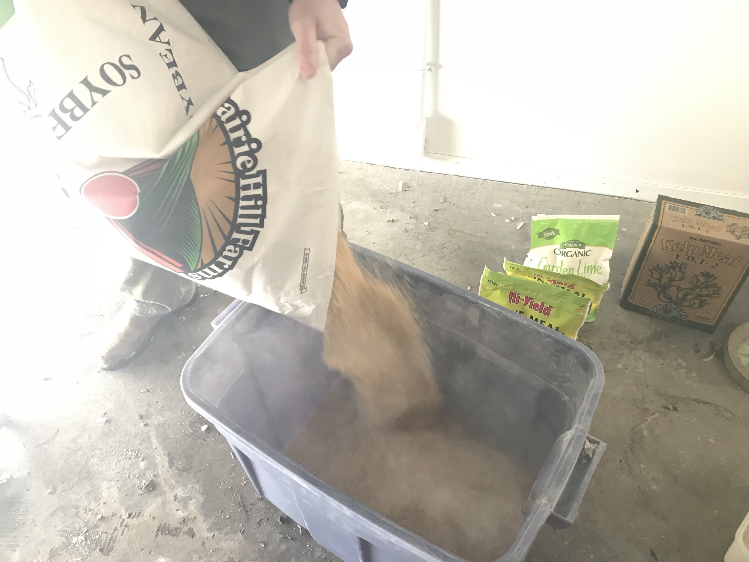 For this recipe, we are able to mix it in the storage container. It's heavy, so you want it to be mixed close to where you will store it, because trust me, you aren't going to want to move this 68 lb container once it's mixed.
