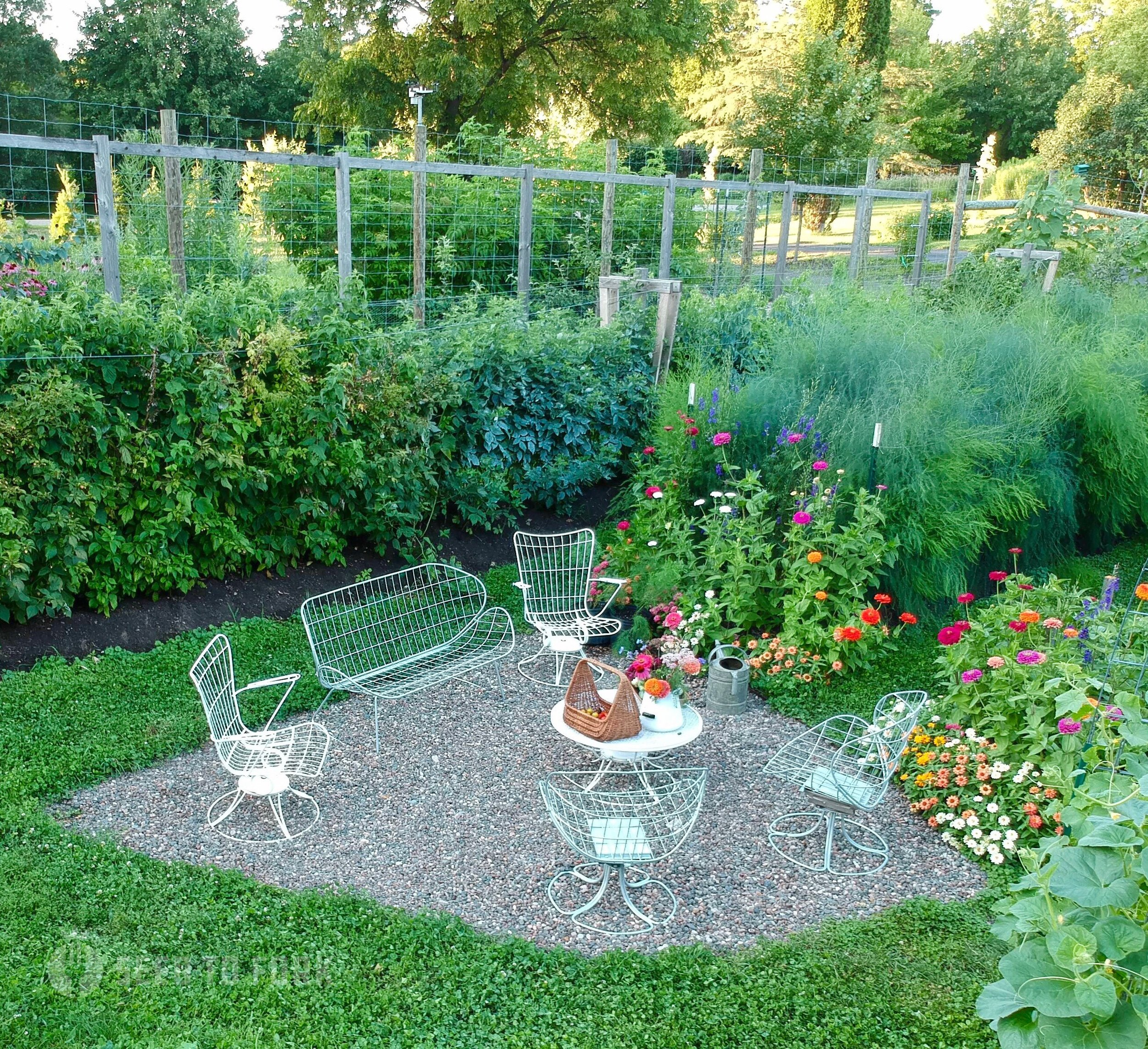 The garden patio, my outdoor room, is irregularly shaped just like every other bed and is close to it's dream come true state. We would love to add a pergola for dappled shade in the heat of summer. But it's pretty special just as it is today.